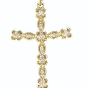 Solid 14K Yellow Gold Vintage Cross Fine Pendant